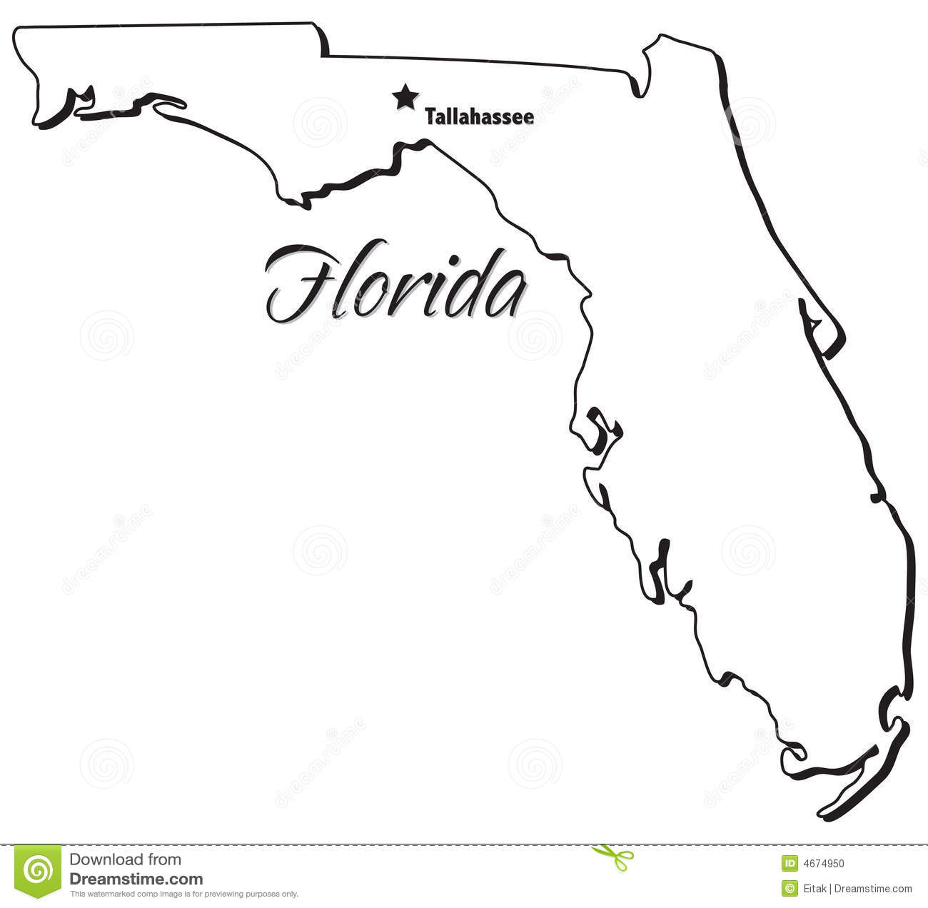 State Of Florida Outline Stock Vector Image Of Borders