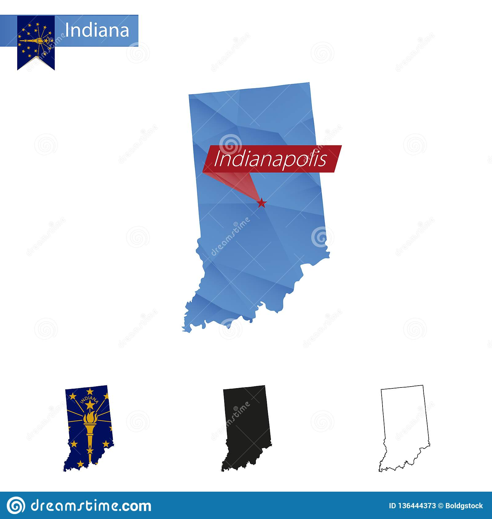 State Of Indiana Blue Low Poly Map With Capital