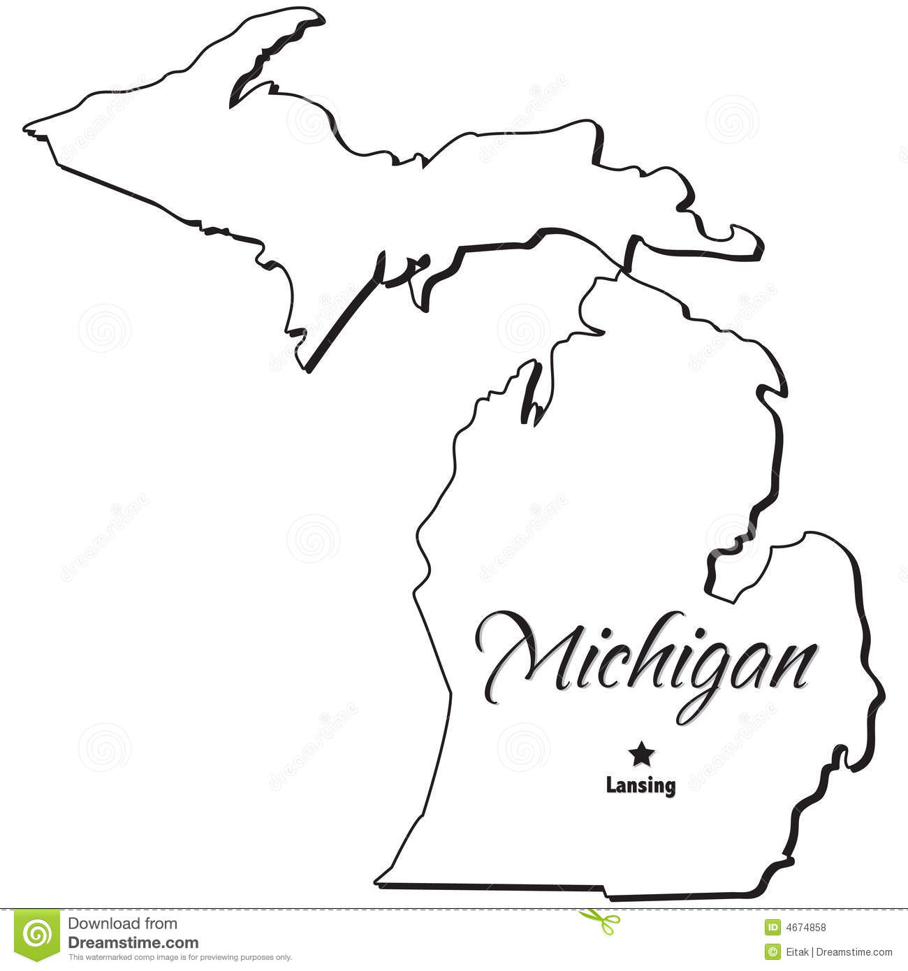 State Of Michigan Outline Stock Vector Illustration Of