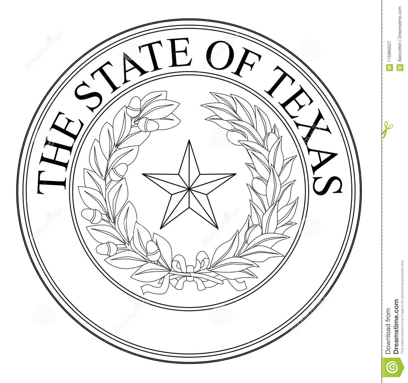 The State Of Texas Seal Stock Vector Illustration Of