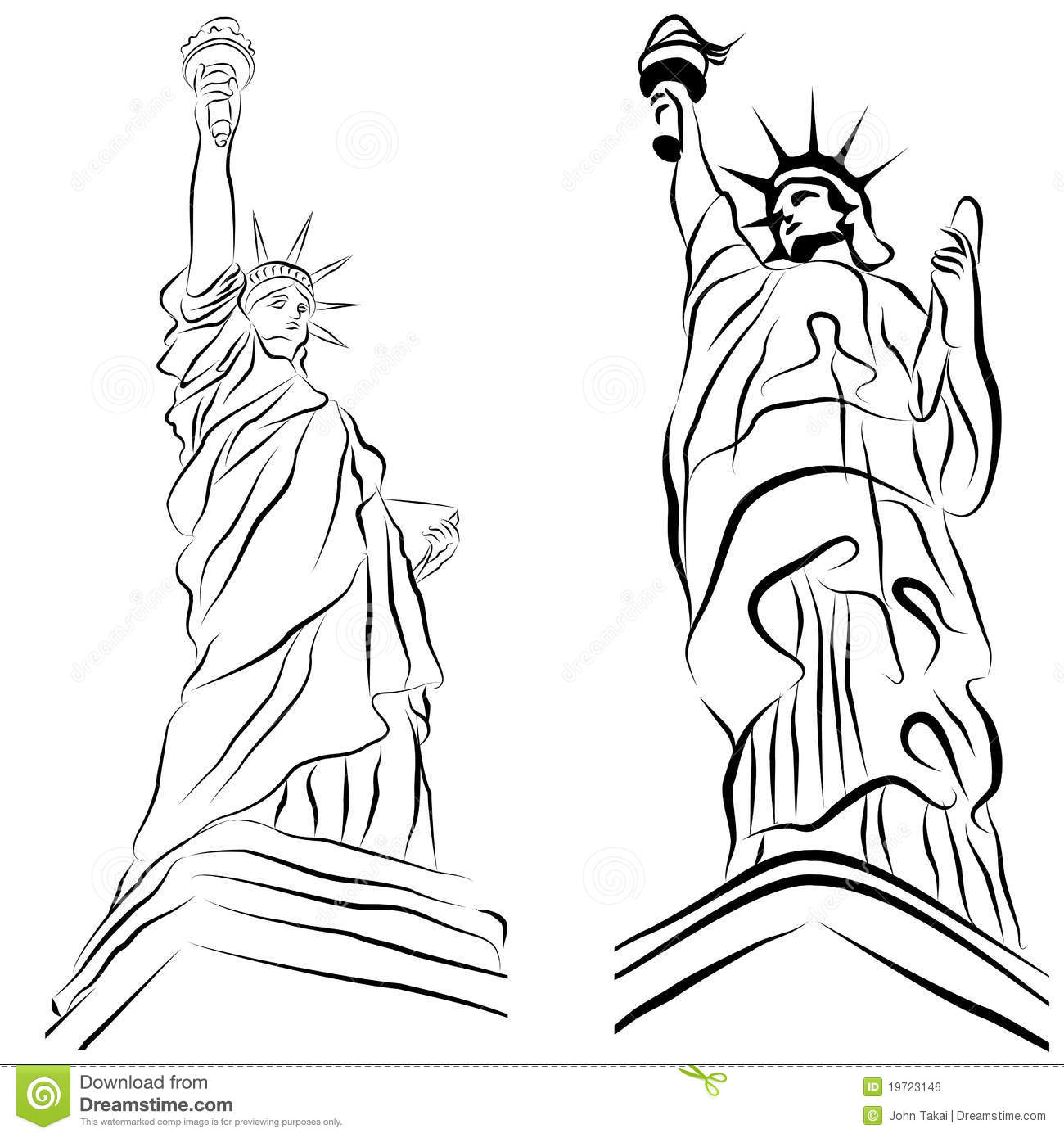 Statue Of Liberty Set Stock Vector Image Of United Miss