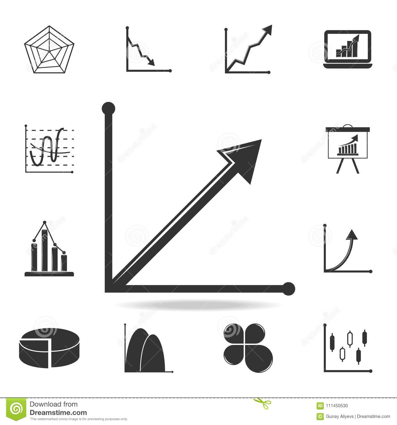 Steady Growth Arrow Chart Icon Detailed Set Of Trend