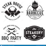 Steak House Barbecue Bbq Party Restaurant Logo Templates Collection Elements For Grill Menu Design Stock Illustration Illustration Of Fire Dinner 160976479
