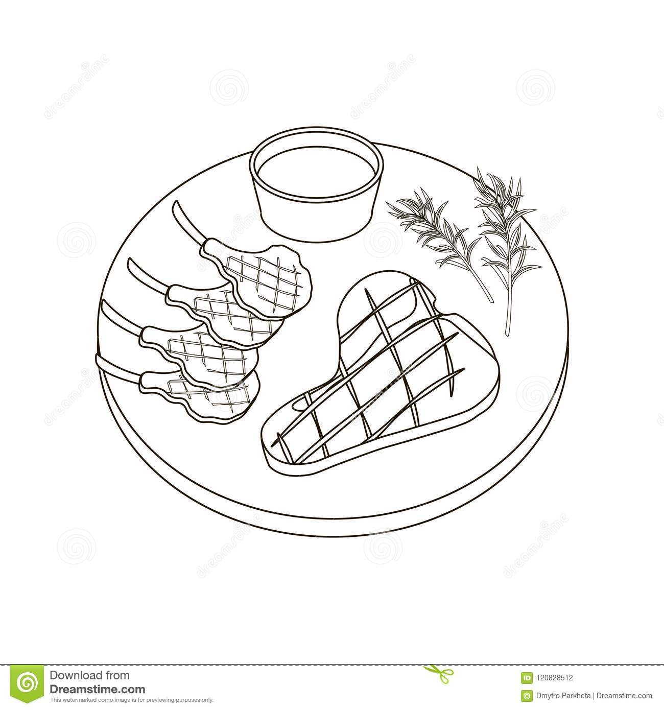 Steak Meat Coloring Pages Stock Vector Illustration Of