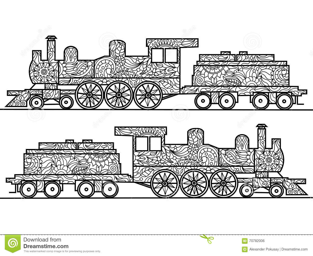 Steam Locomotive Coloring Book For Adults Vector Stock