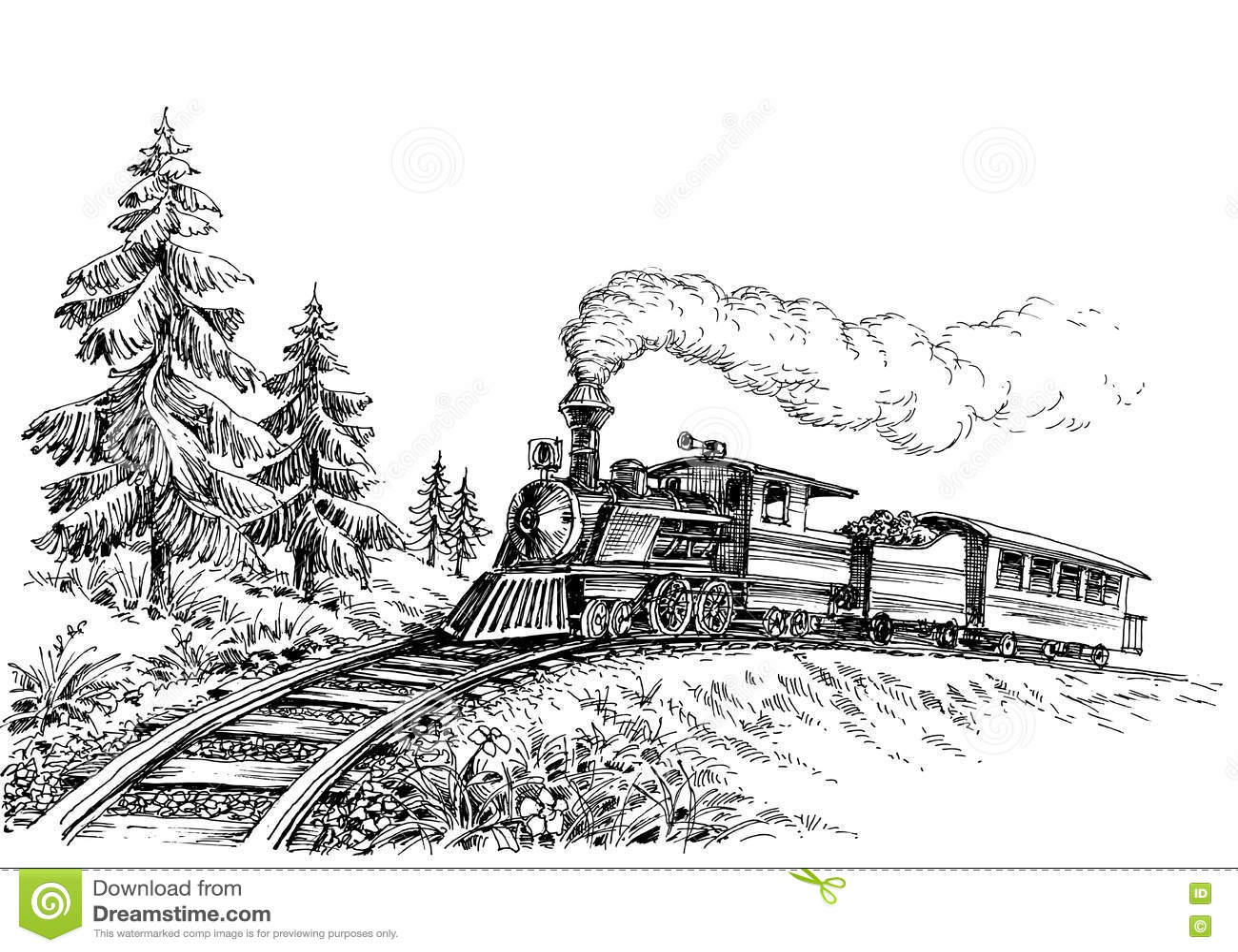 Steam Train Stock Vector Illustration Of Journey Pine