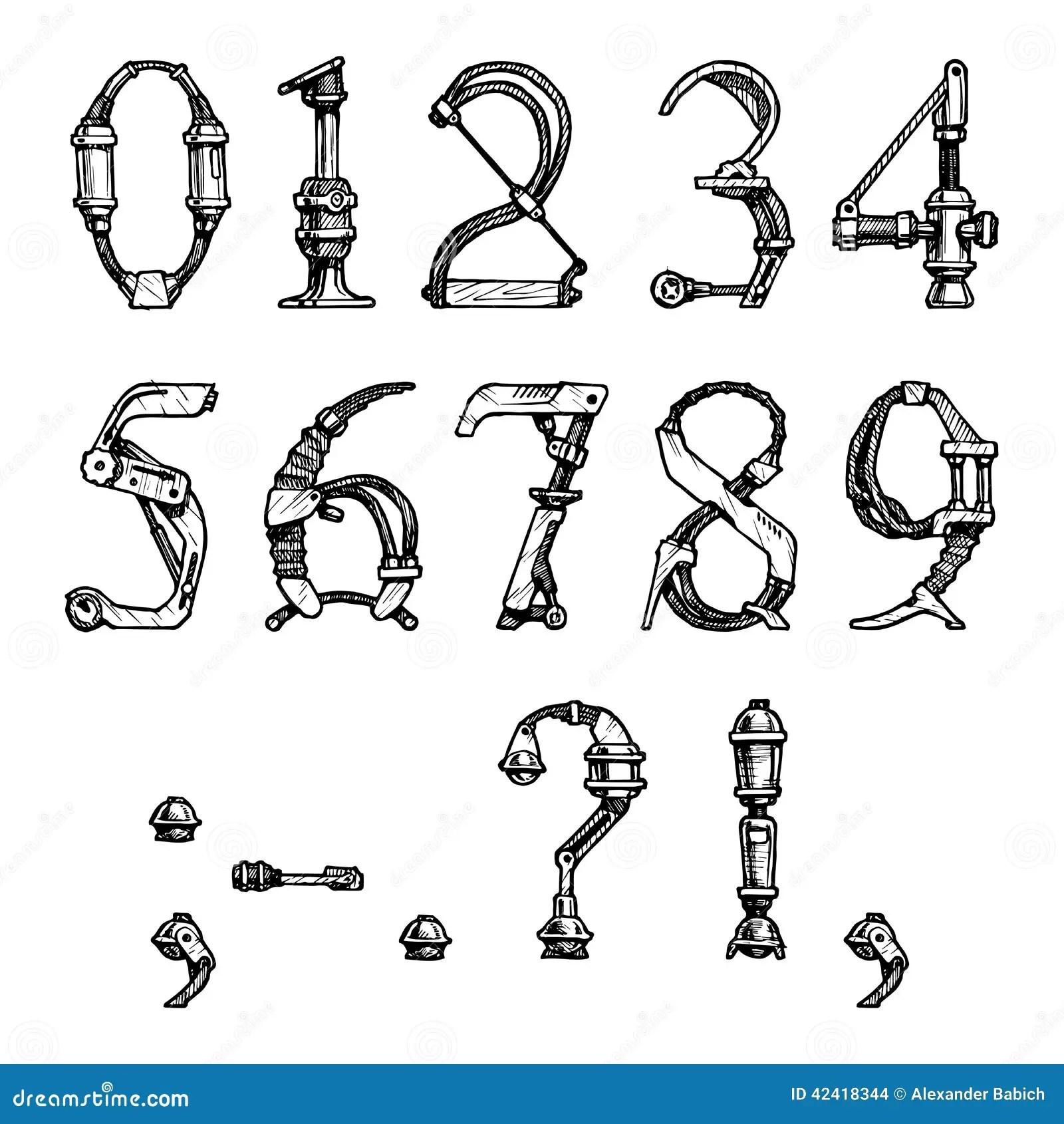 Steampunk Font Stock Vector Image Of Docket Inscription