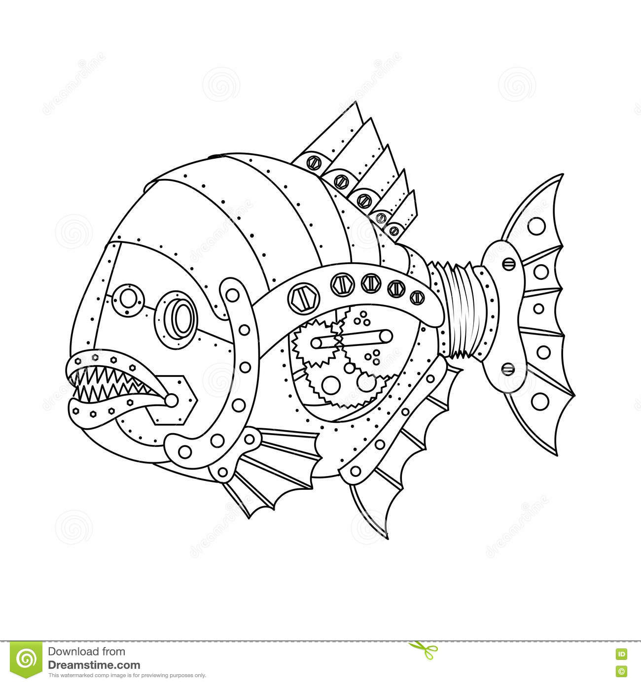 wiring diagram database  steampunk style piranha fish coloring book vector  stock