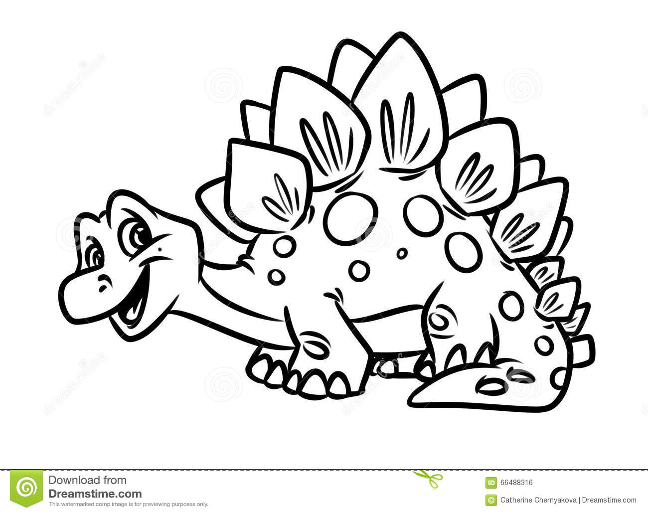 Funny Dinosaur Stegoceras Cartoon With Volcano Landscape Background Royalty Free Stock
