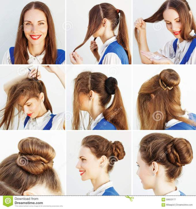 step by step hairstyle idea for blog stock image - image of