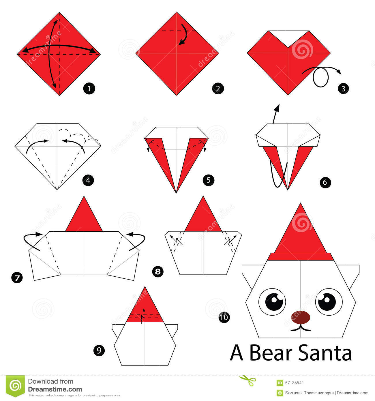 Step By Step Instructions How To Make Origami Bear Santa