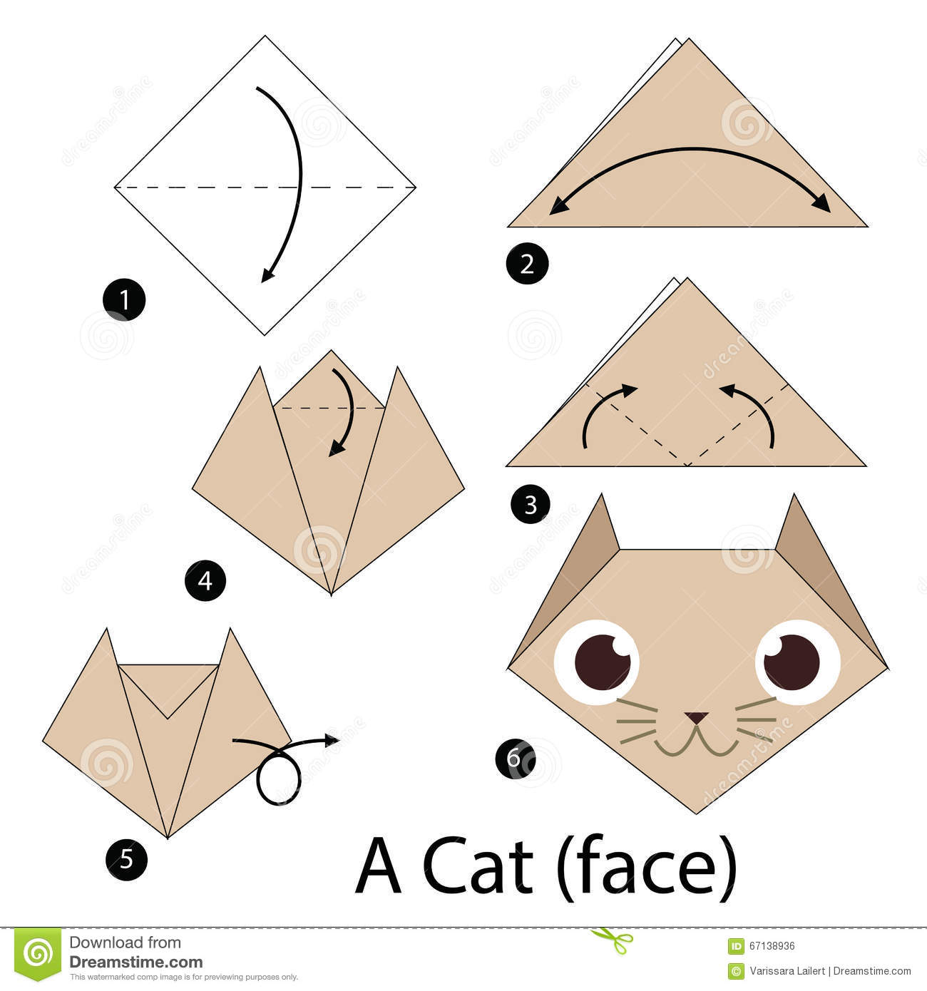 Step By Step Instructions How To Make Origami A Cat Stock