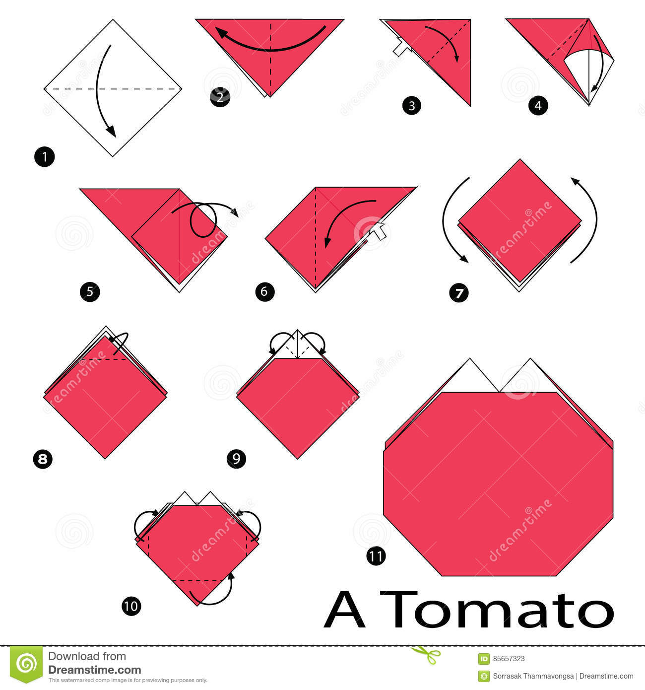 Step By Step Instructions How To Make Origami A Tomato