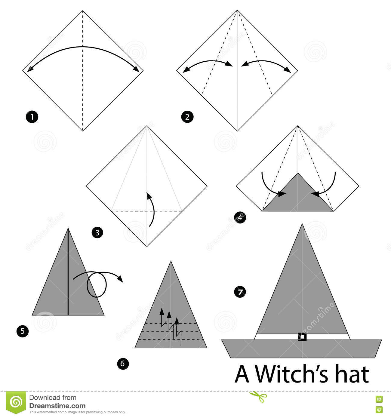 Step By Step Instructions How To Make Origami A Witch S