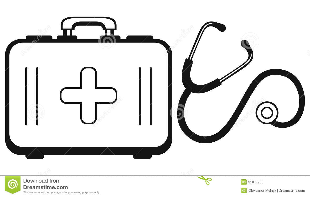 Stethoscope And Medicine Chest Stock Vector
