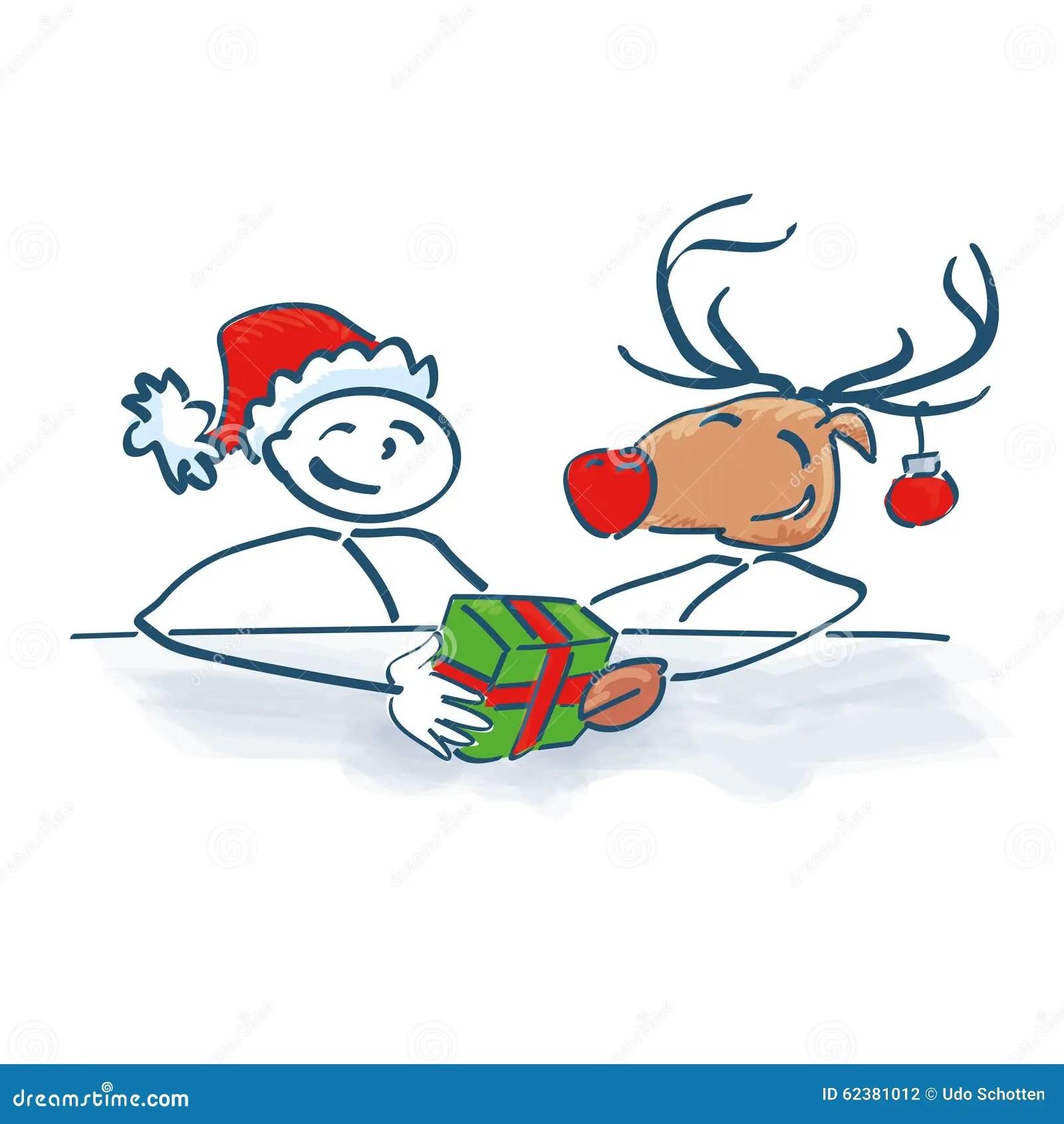 Stick Figure Santa Claus With Reindeer Stock Vector