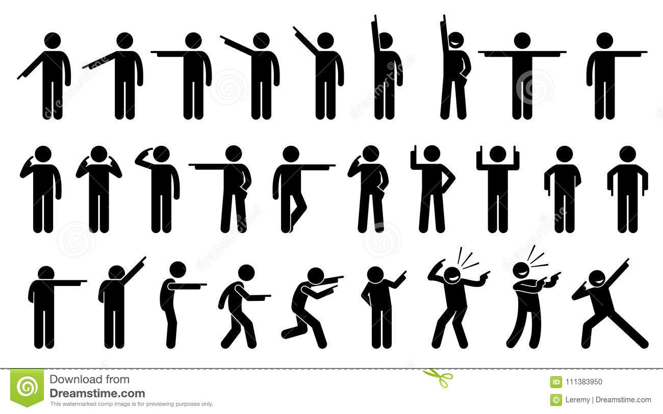 Stick Figures Of A Person Pointing Finger Stock Vector