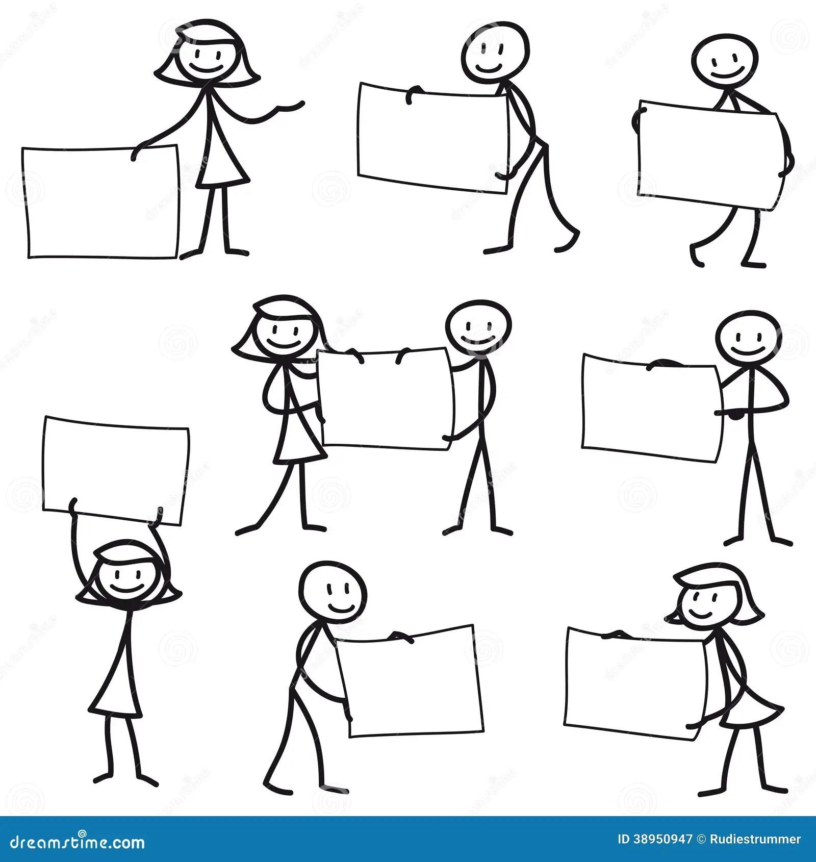 Stick Man Stick Figure Holding Blank Sign Stock Vector