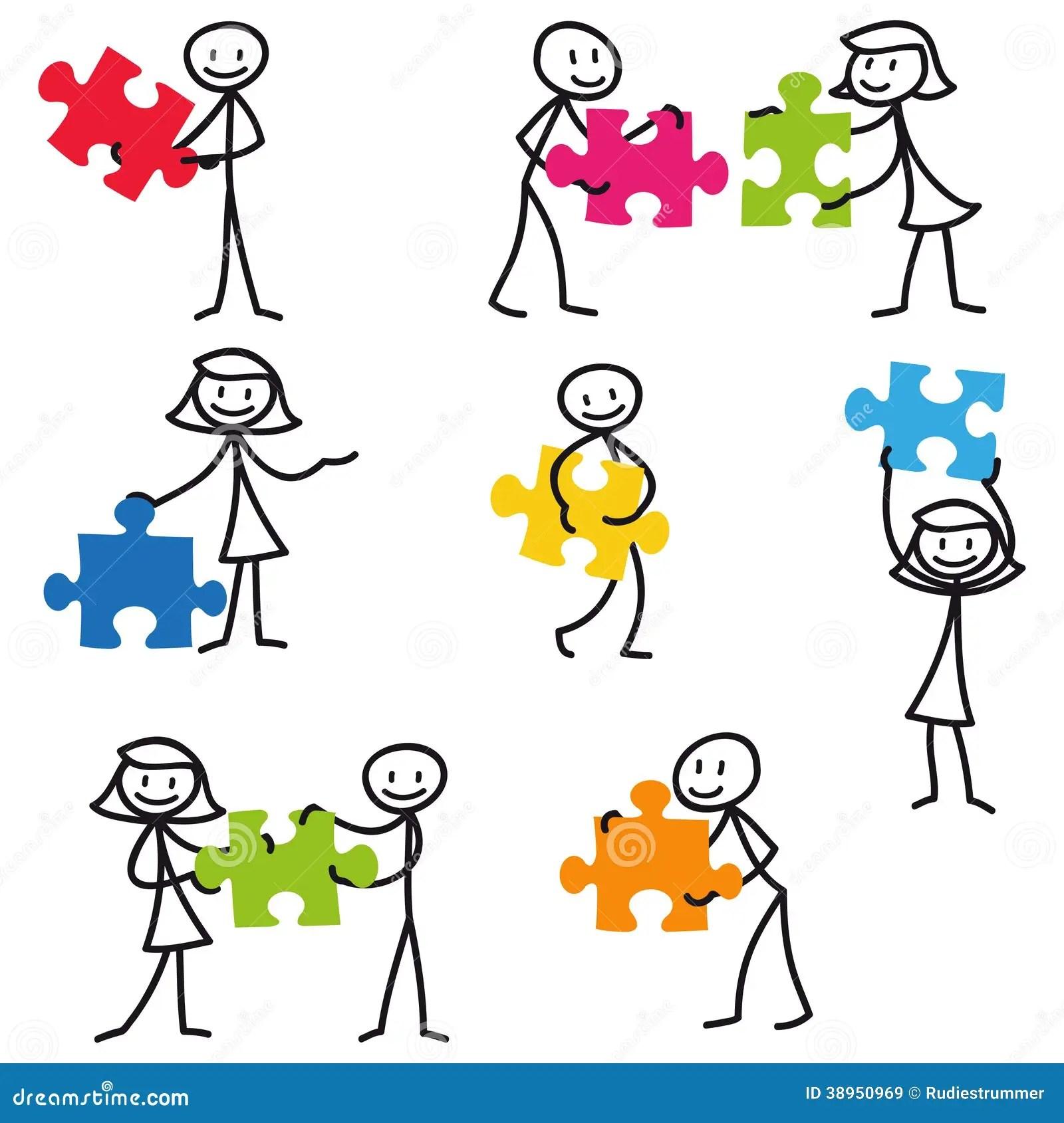 Stick Man Stick Figure Jigsaw Puzzle Stock Vector