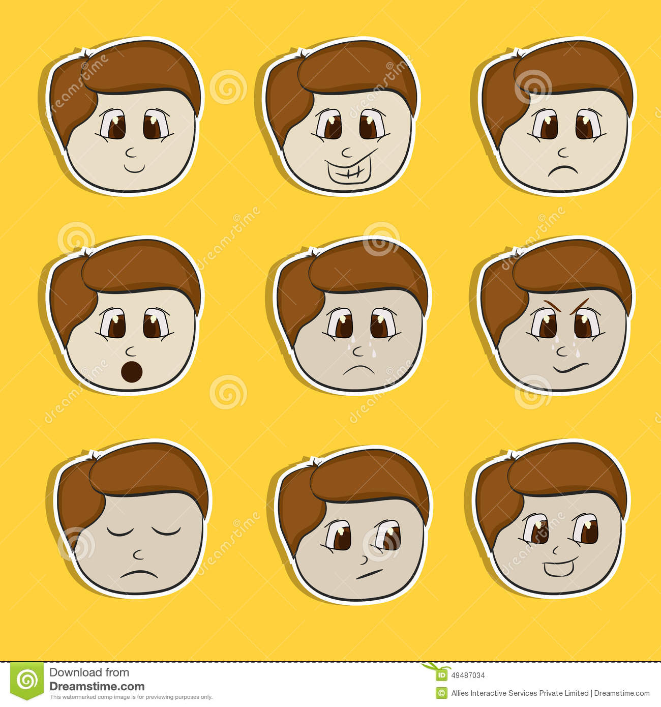 Sticker Tag Or Label Set With Different Expressions