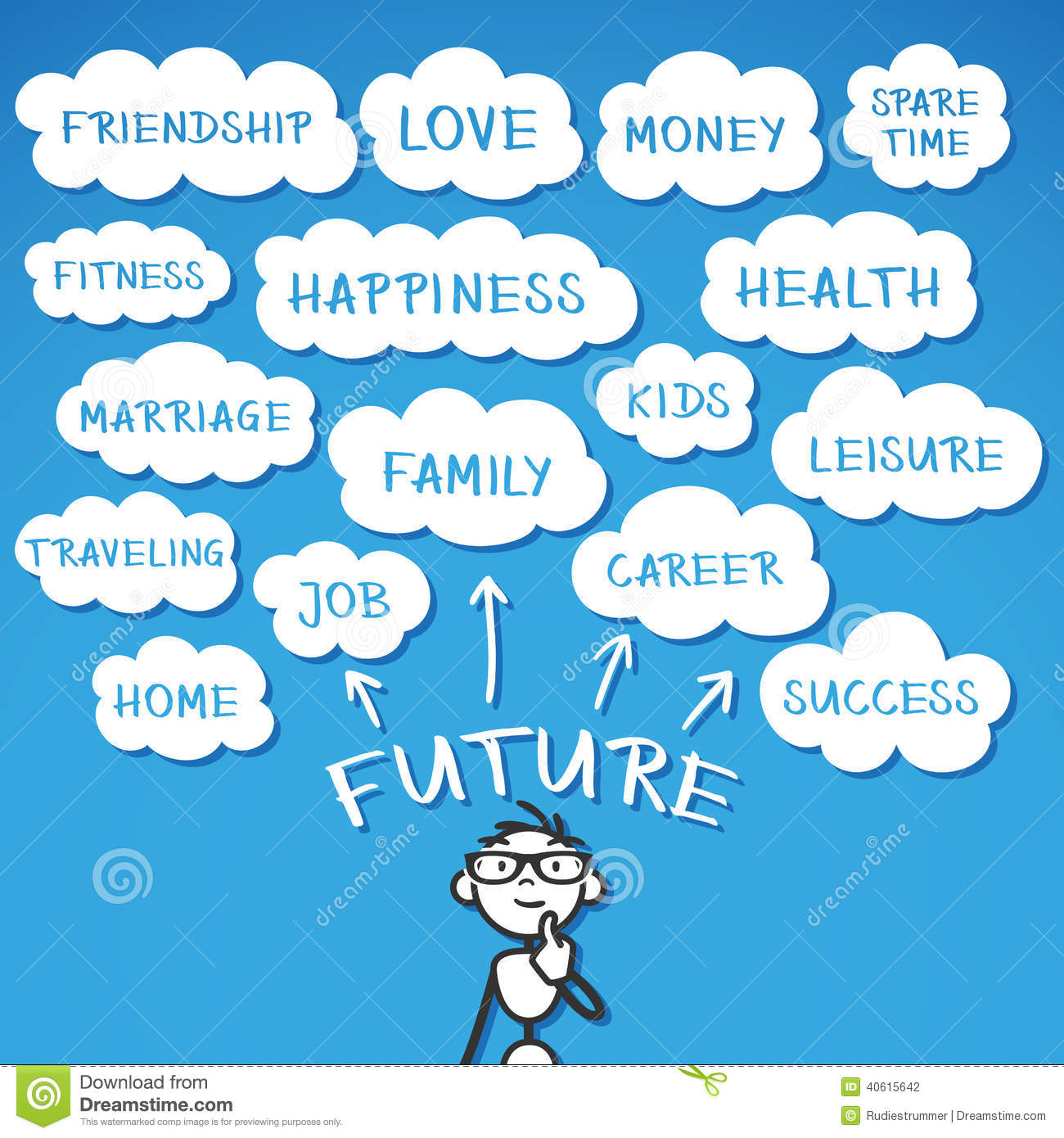 Stickman Hope Dreams Wishes Future Stock Vector