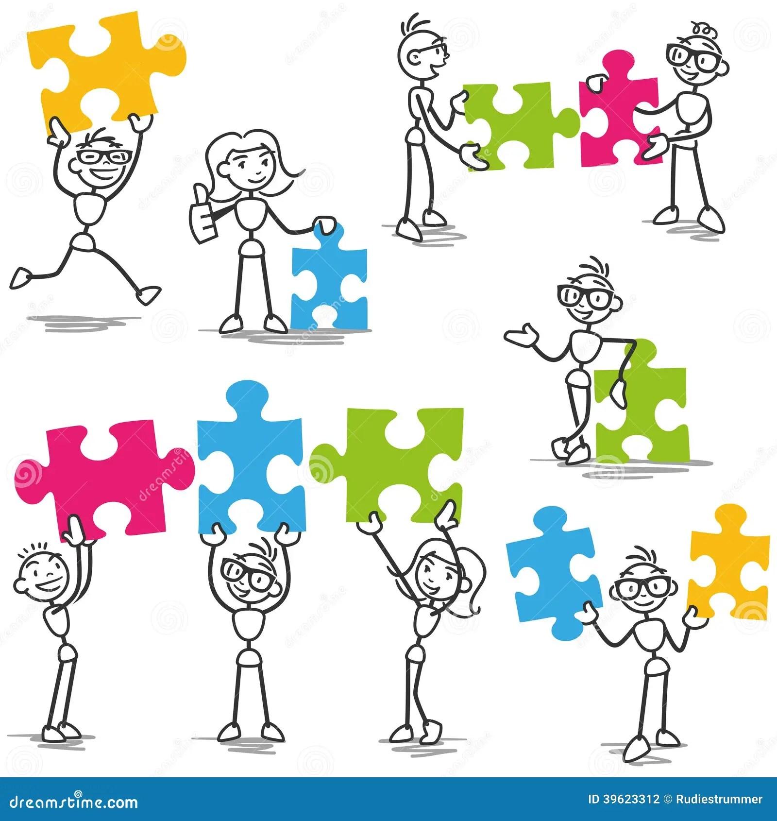 Stickman Jigsaw Puzzle Strategy Teamwork Stock Vector