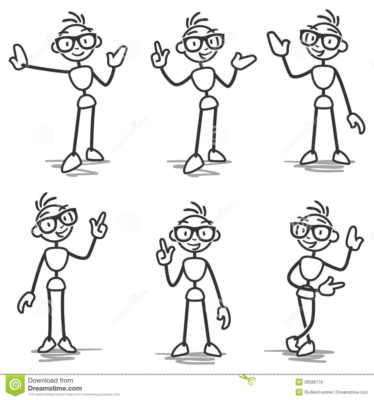 Stickman Stick Figure Pointing Showing Presenting Stock