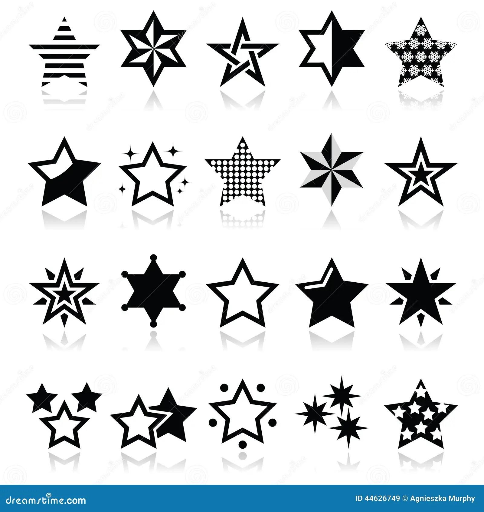 Stjarnor Svartar Symboler Med Reflexion Som Isoleras P Vit Stock Illustrationer