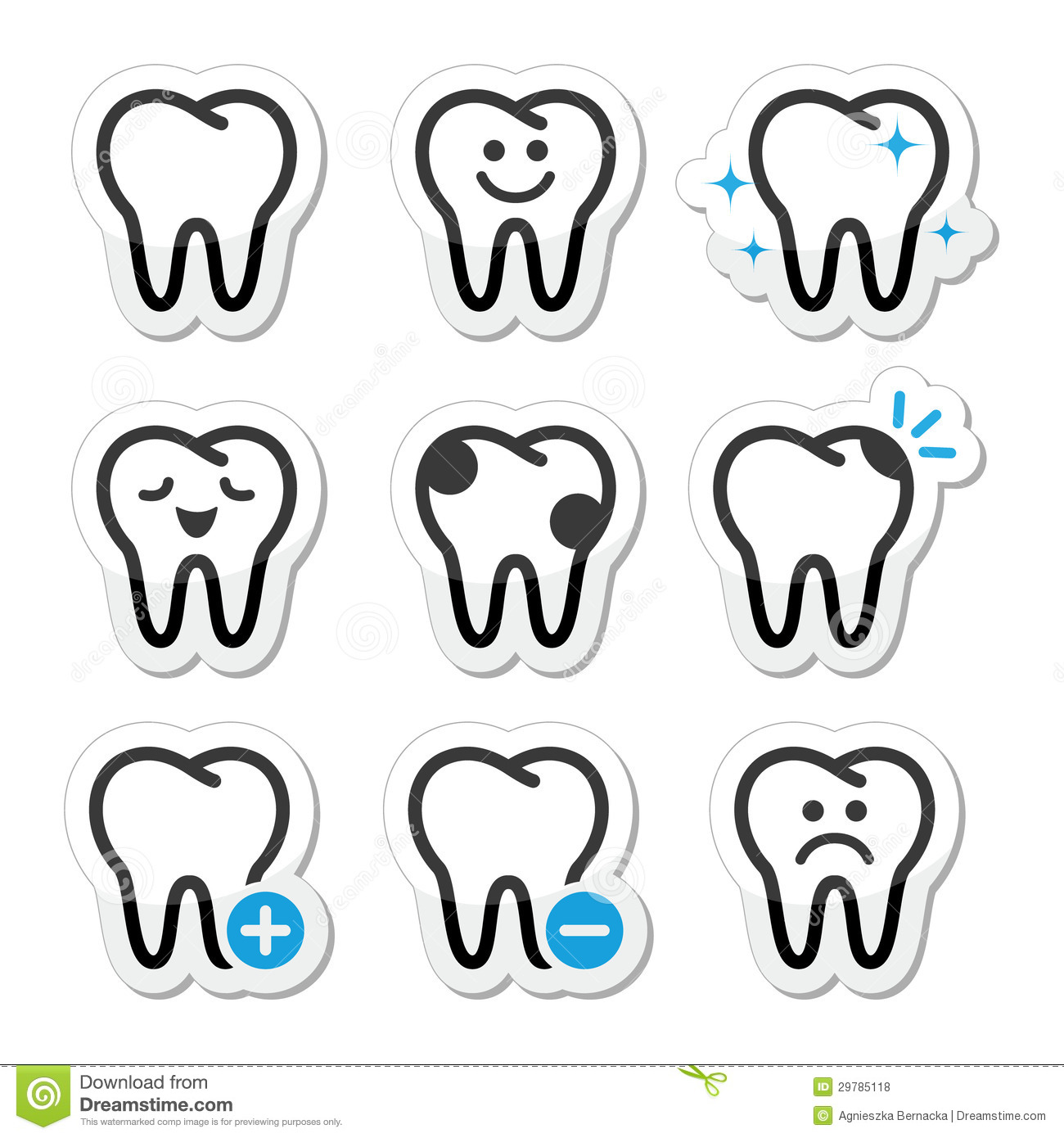 Tooth Teeth Icons Set Royalty Free Stock Photos