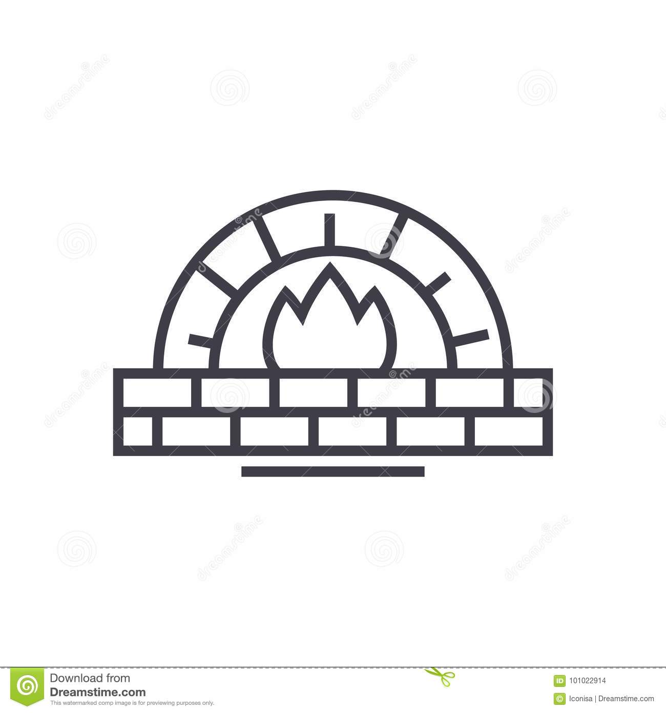 Stone Hearth And Frame For Sample Text Cartoon Vector