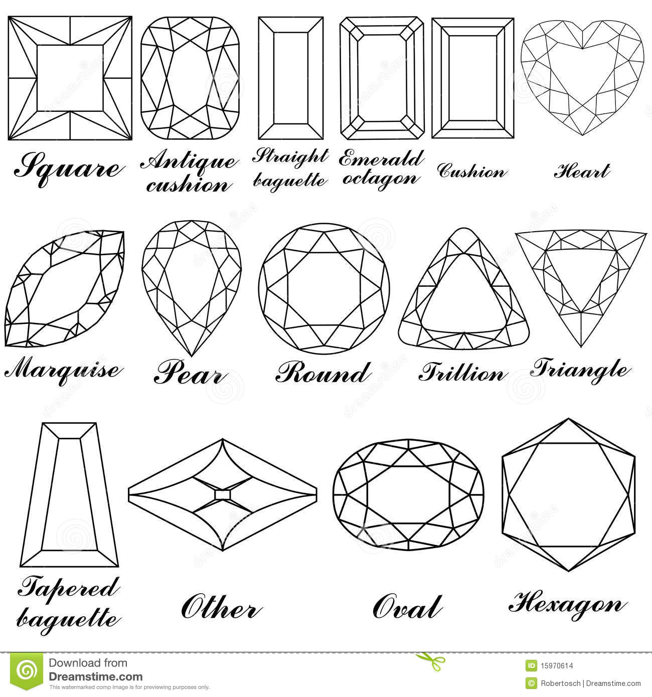 Stone Shapes And Their Names Stock Vector
