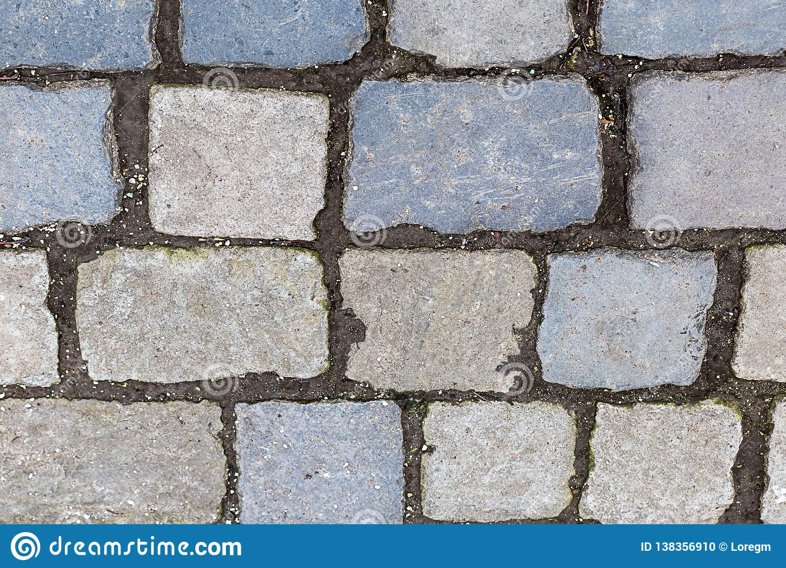 Stone Surface Many Cobblestone Lines Cement Rectangular