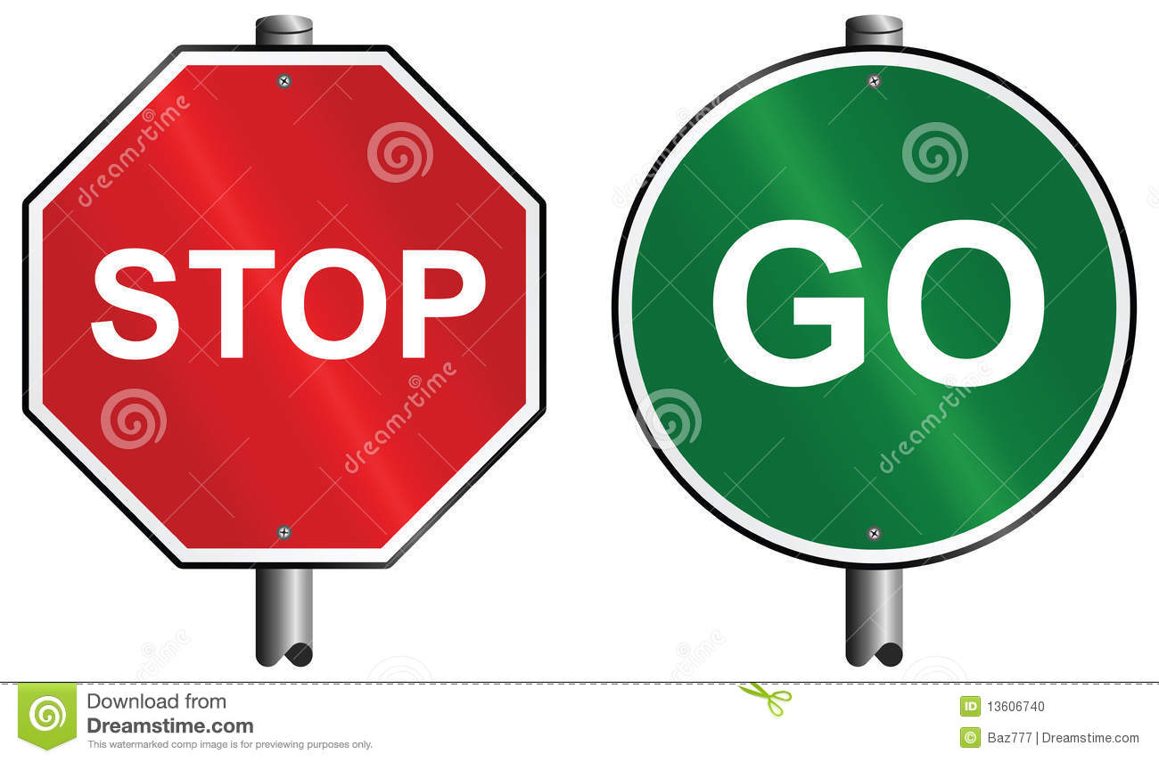 Stop And Go Signs Stock Vector Illustration Of Advance