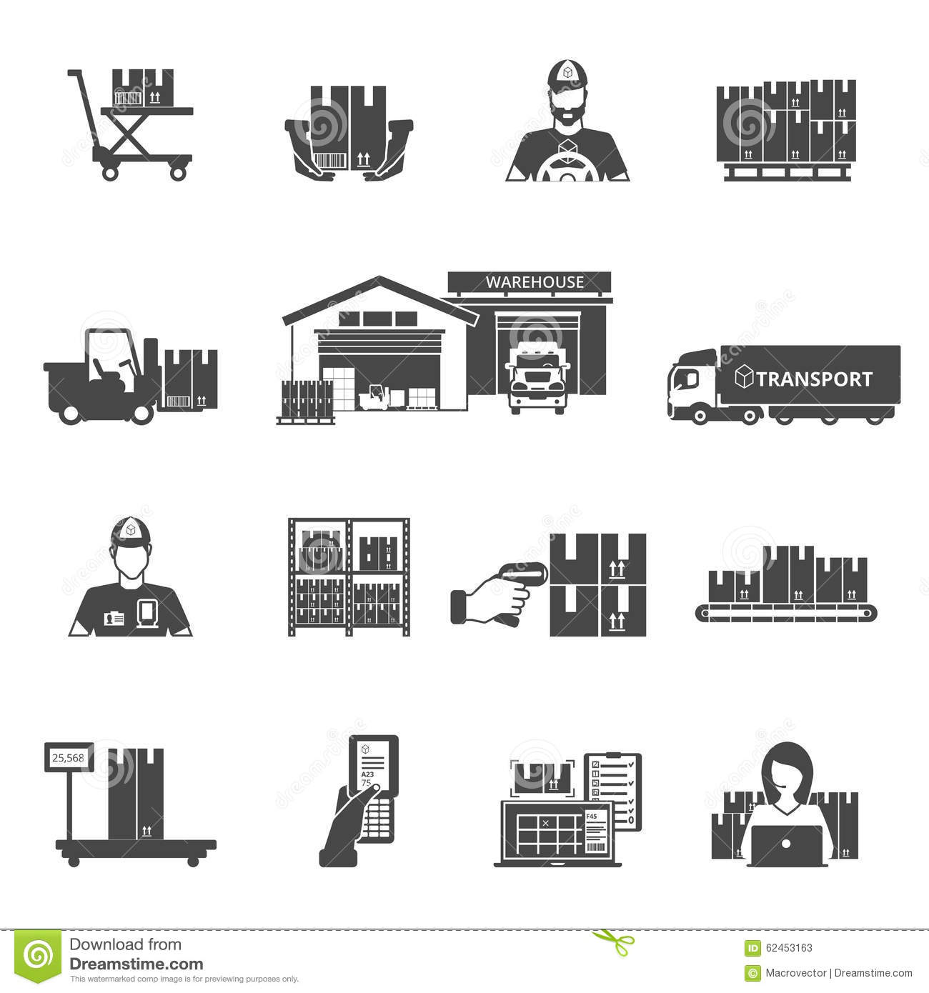 Storage Icons Set Stock Vector Illustration Of Business