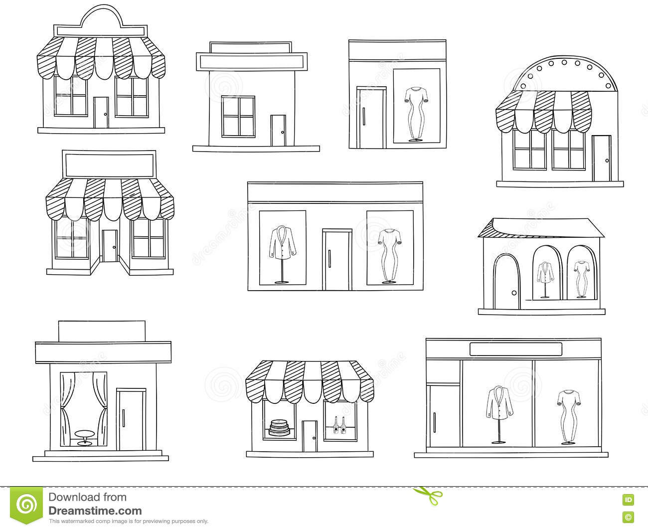Store Buildings Coloring Book Vector Stock Vector