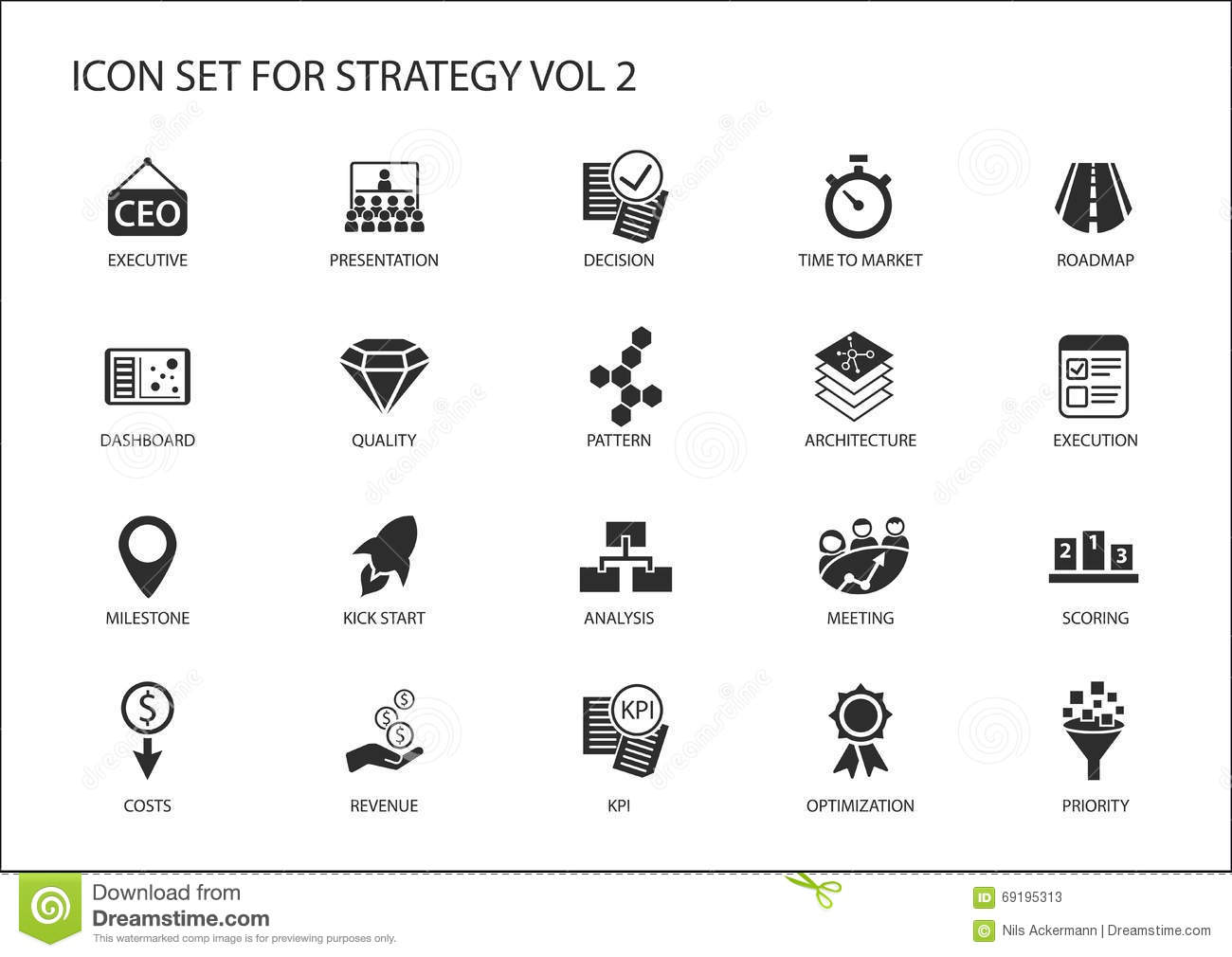 Strategy Icon Set With Various Symbols For Strategic