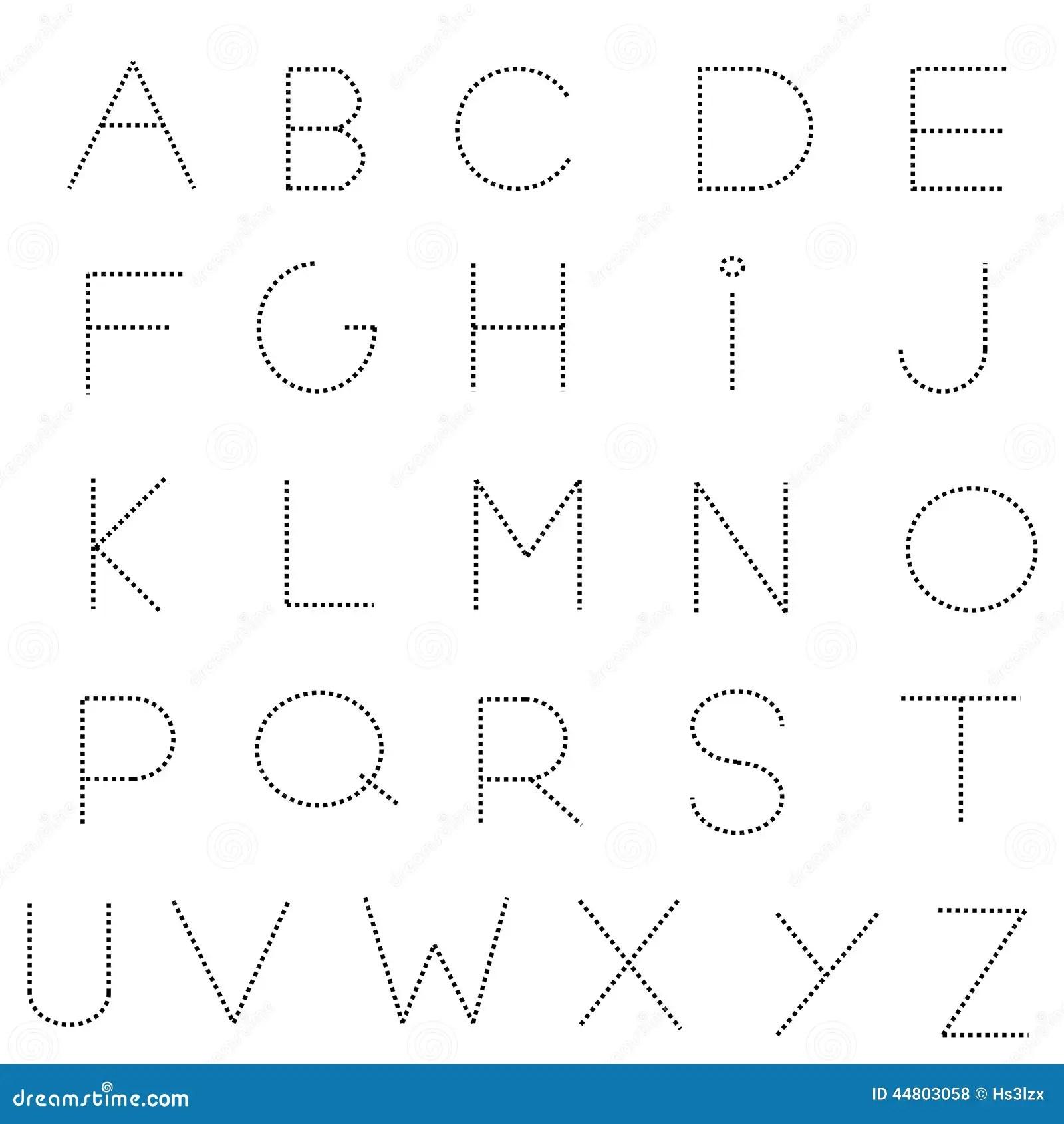 Streckad Linje Alfabetuppsattning Vektor Illustrationer