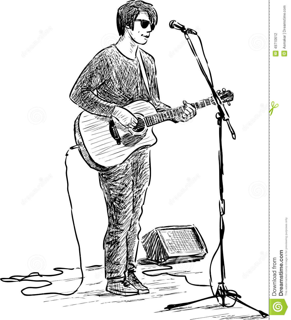 Street Guitarist Stock Vector Illustration Of Guitarist