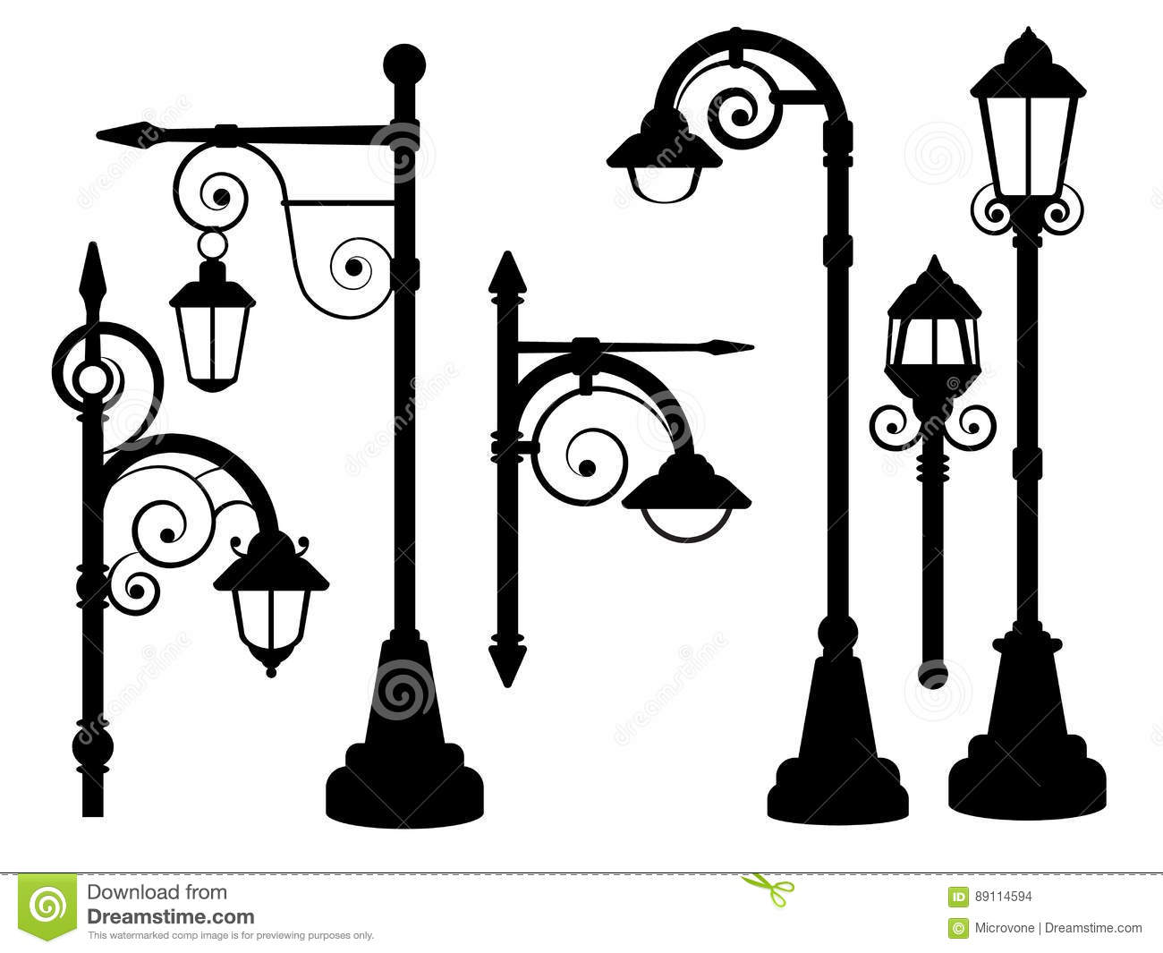 Street Lamp Road Lights Vector Silhouettes Stock Vector