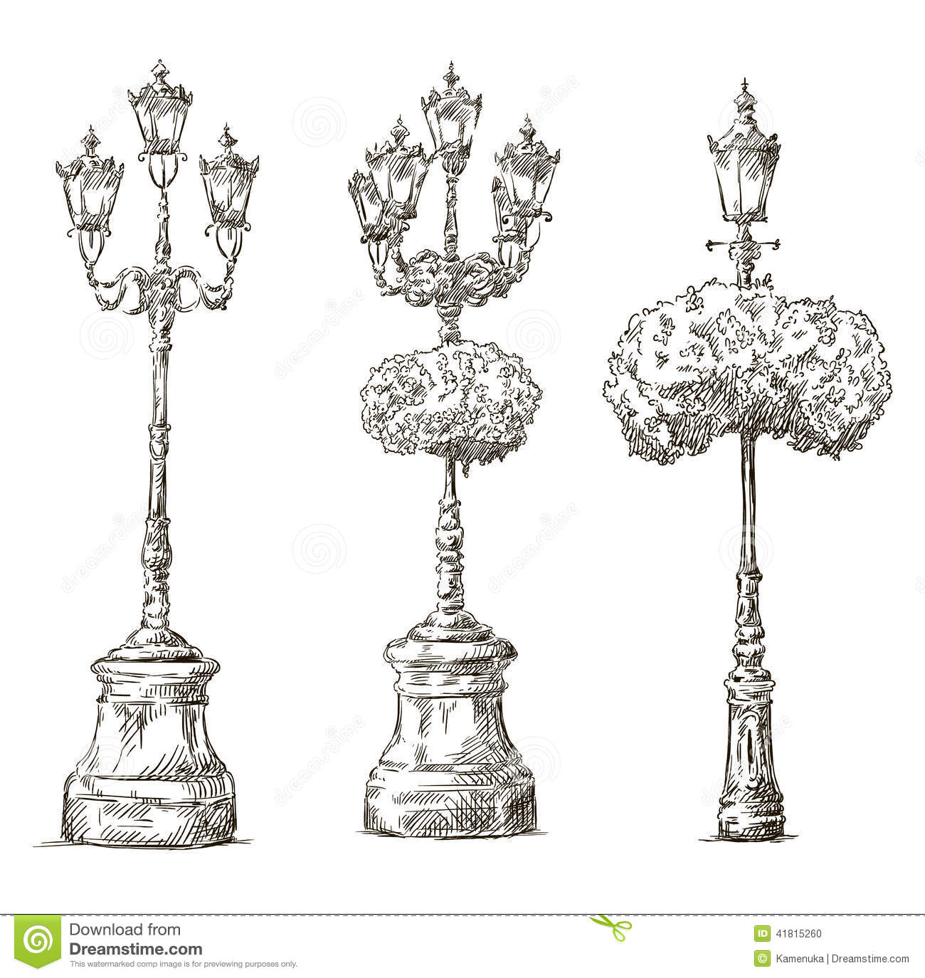 Street Lamps Lamp Posts Drawings Sketch Freehand Stock