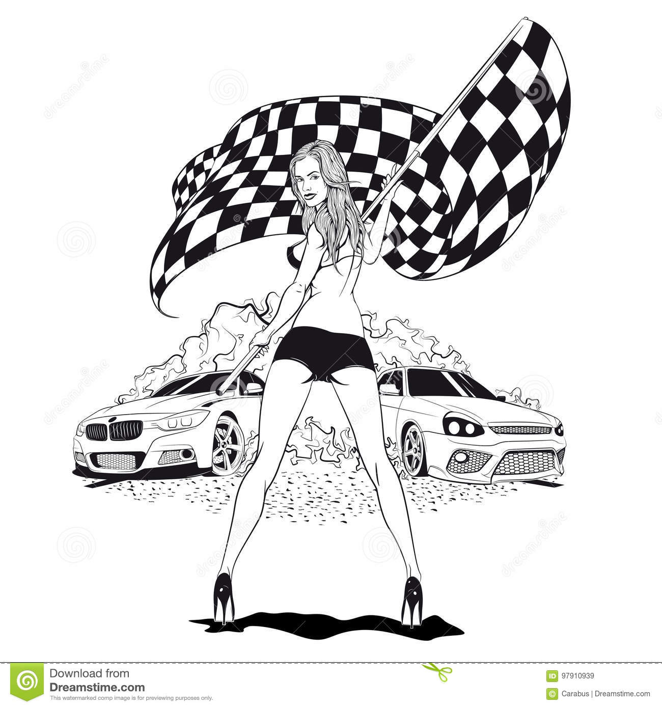Street Racing Sport Girl With Starting The Checkered Flag