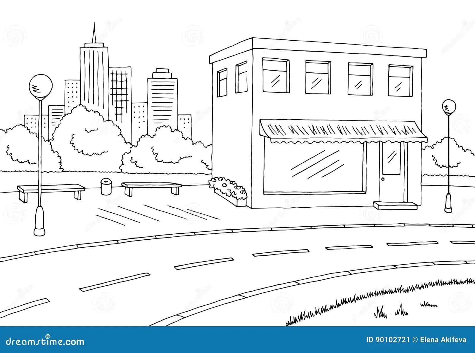 Street Road Graphic Black White Landscape Sketch