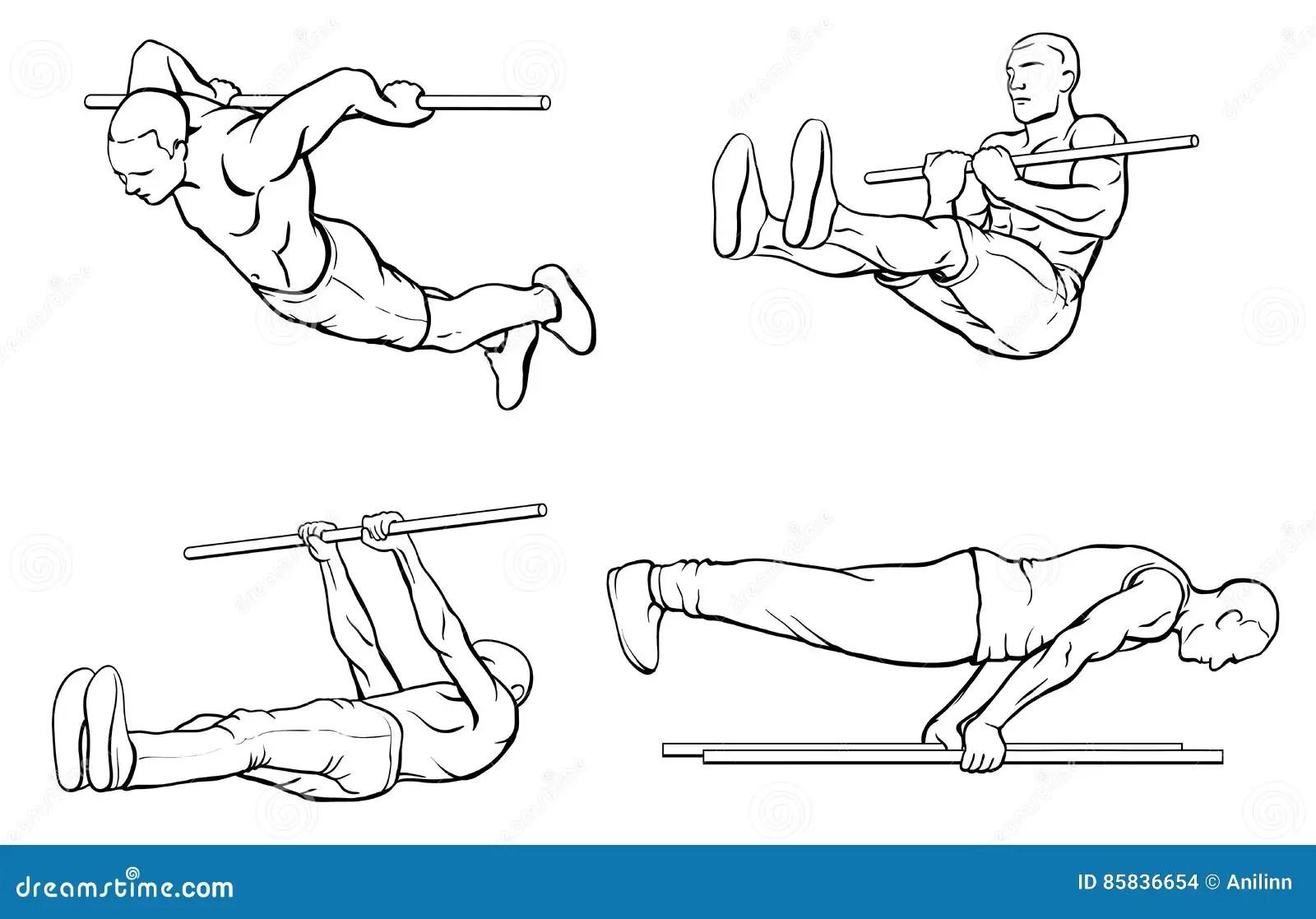 Legs Workout Set Cartoon Vector