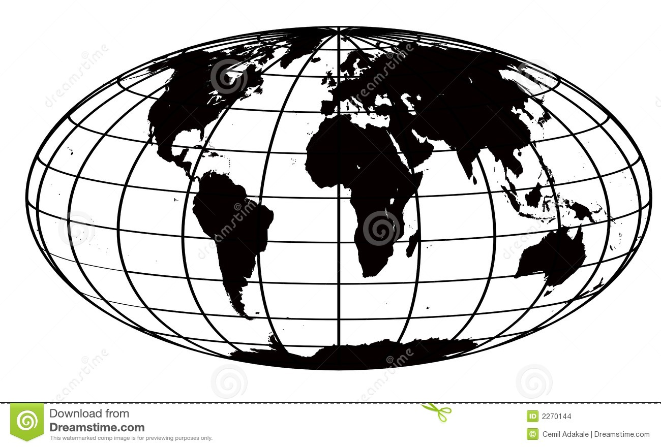 Stroke And Black World Map Stock Illustration