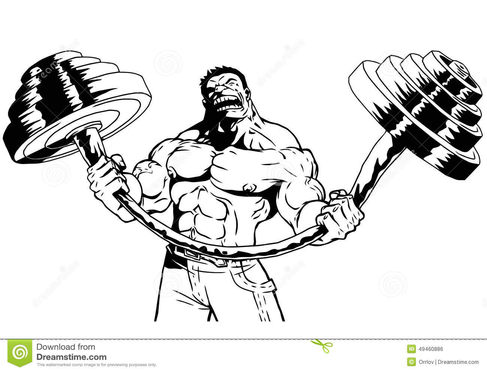 Strong Bodybuilder Flexes Heavy Barbell Stock Vector