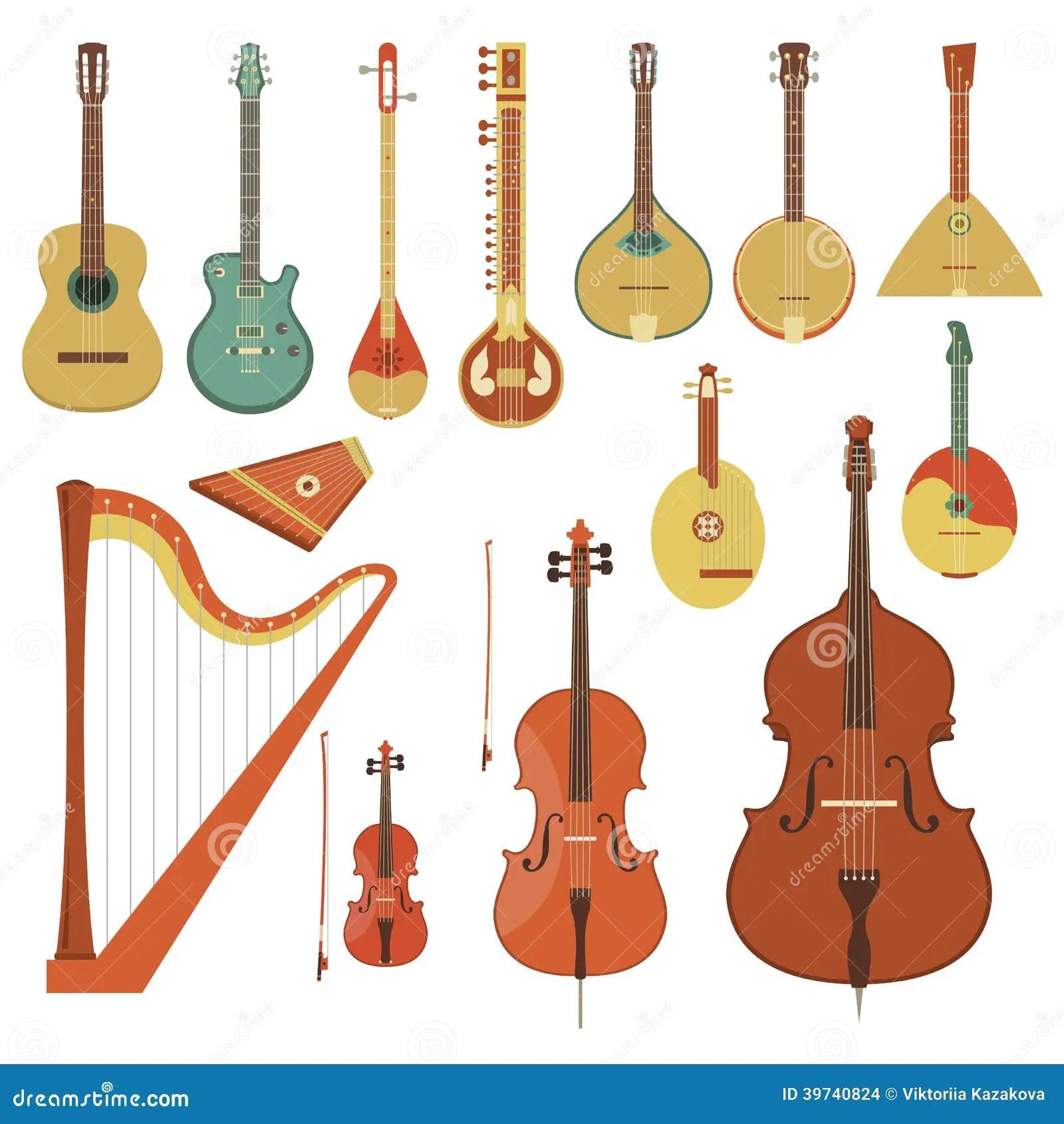 Strumenti Musicali Messi Insieme Illustrazione Vettoriale