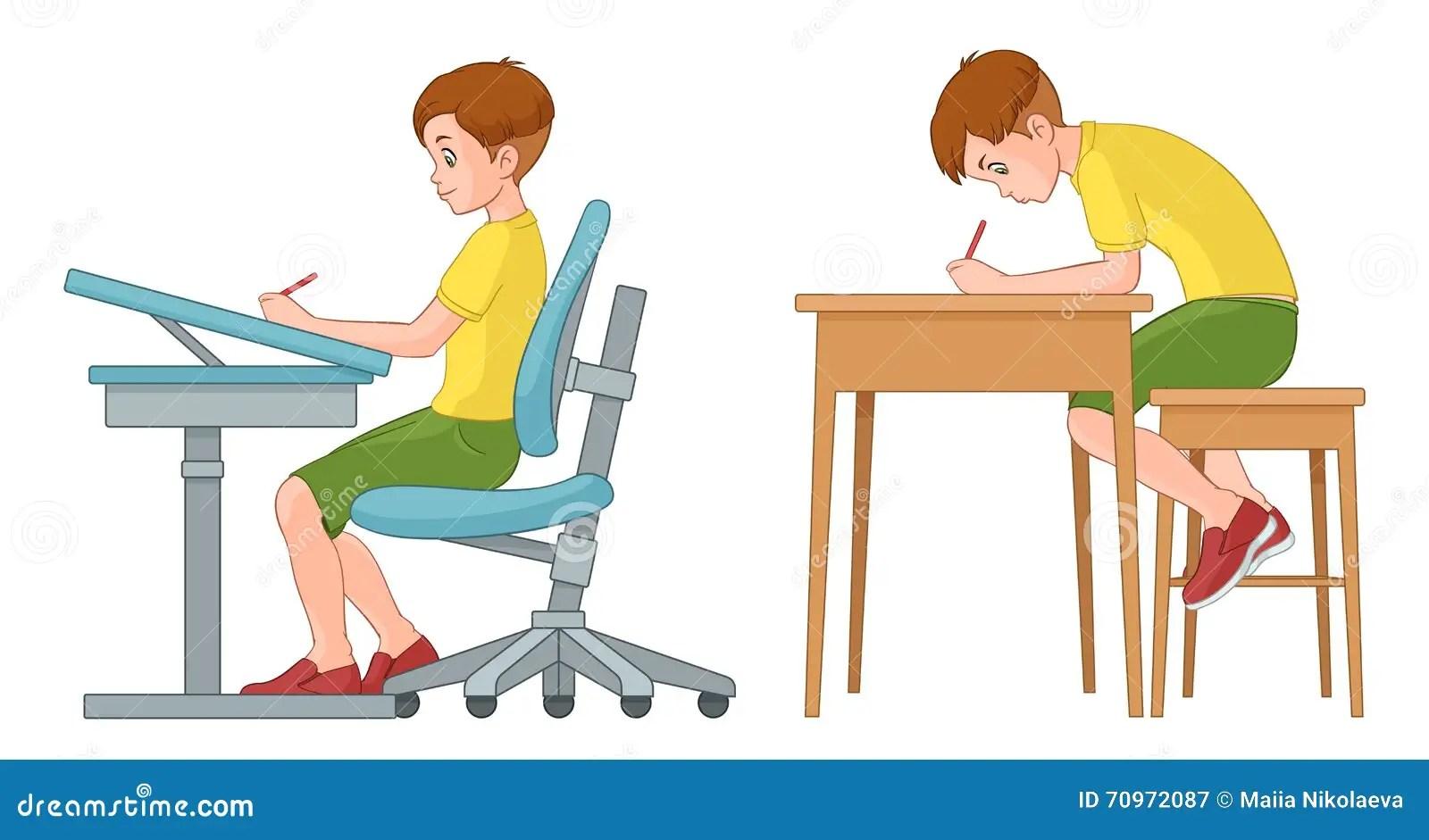 Student Boy Writing Incorrect And Correct Back Sitting