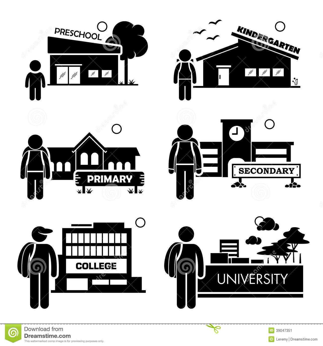 Student Education Level Clipart Stock Vector