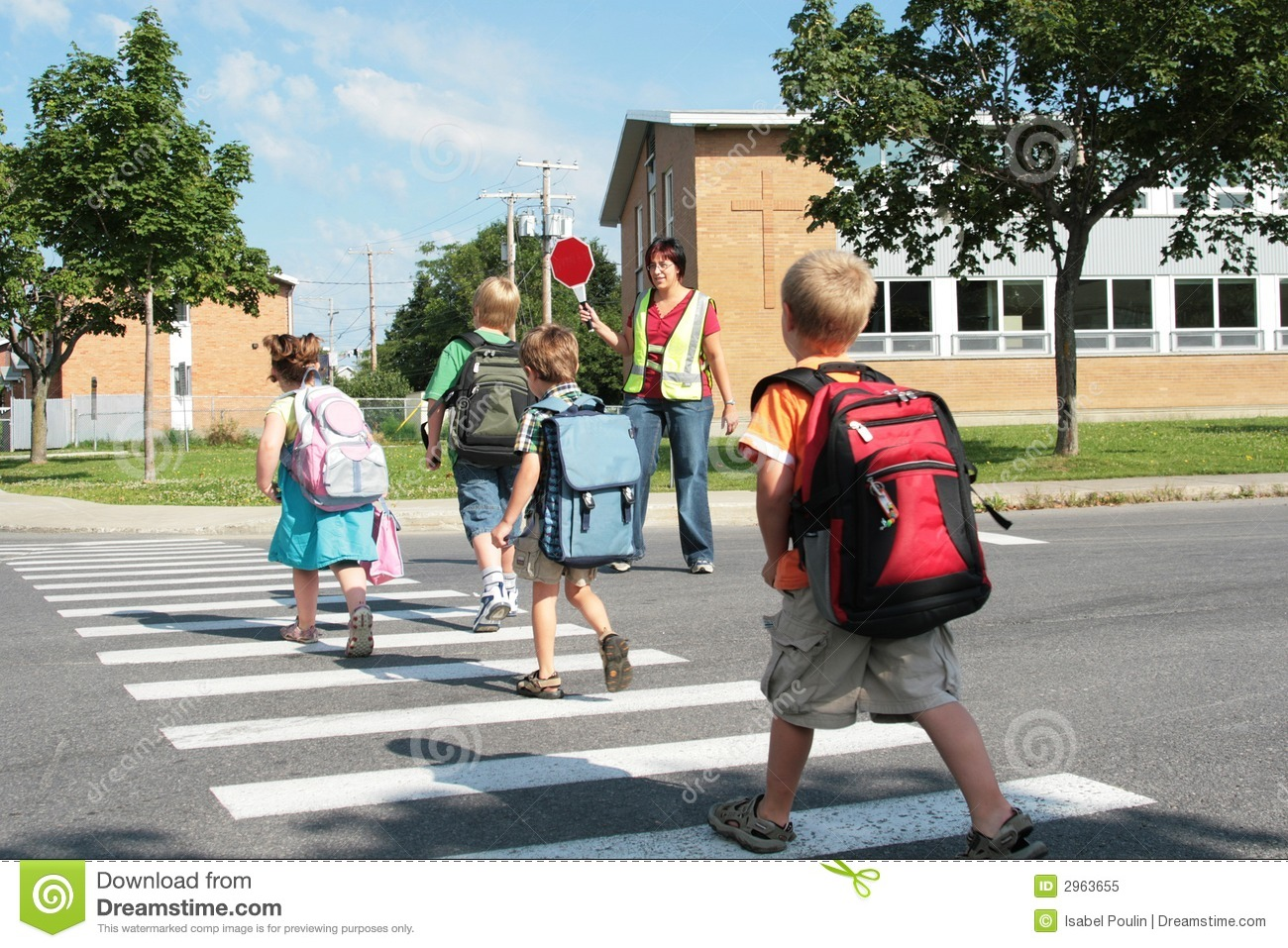 Students Crossing Street Stock Image Image Of Protection