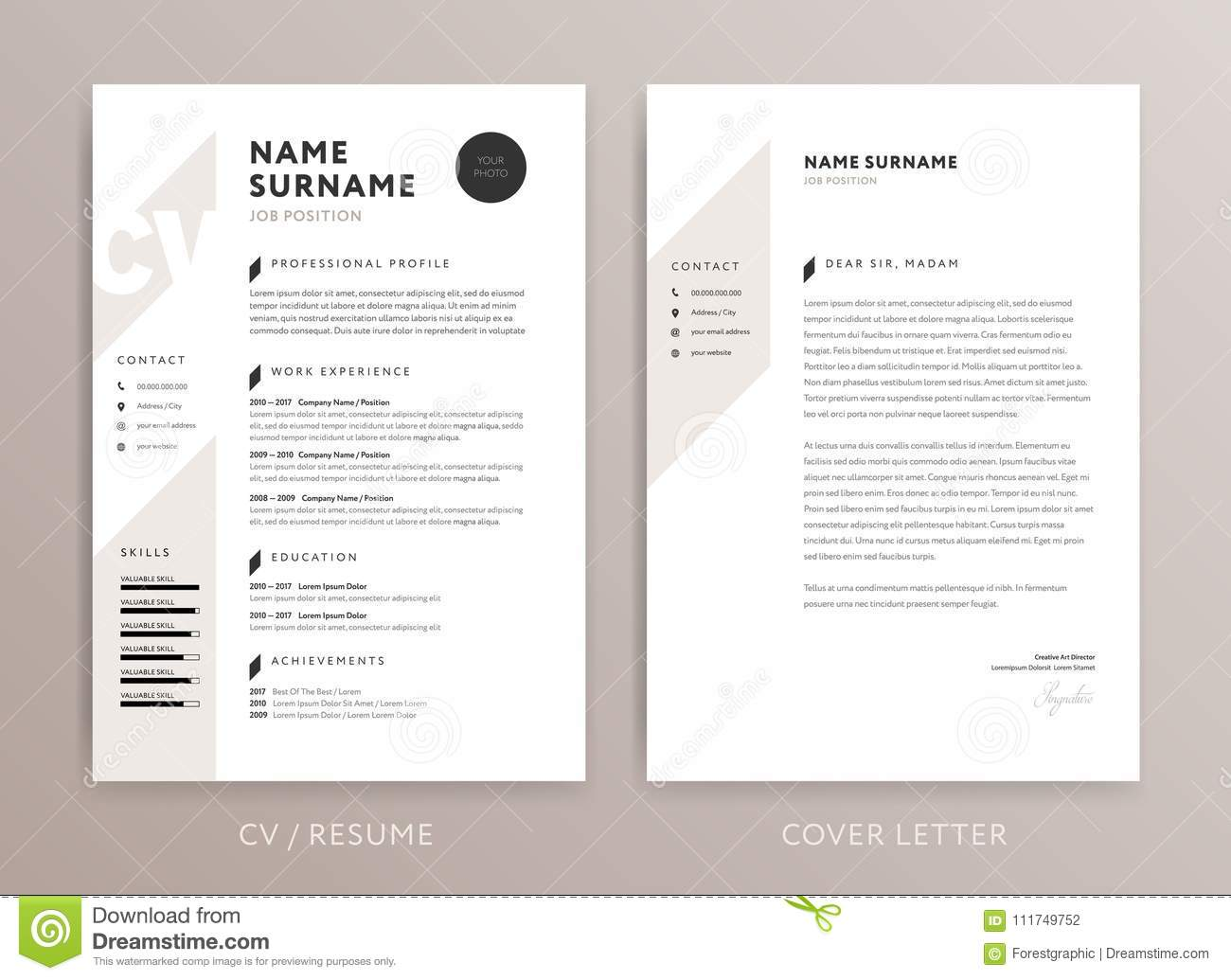 Stylish Curriculum Vitae And Cover Letter Template Stock